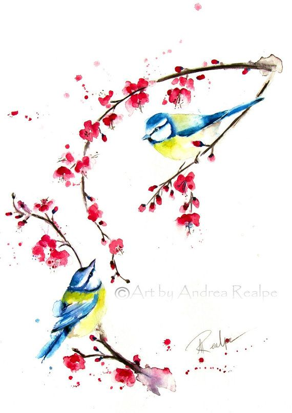 Blue Tit Painting  Bird Art  Cherry Blossom  Watercolor by ARealpe, $150.00