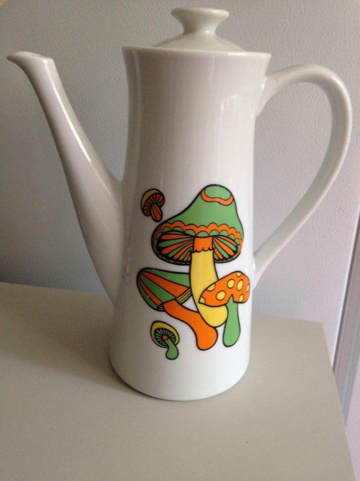 Groovy Psychedelic Mushroom Teapot Coffee Pot Vintage Flower Power Mid Century