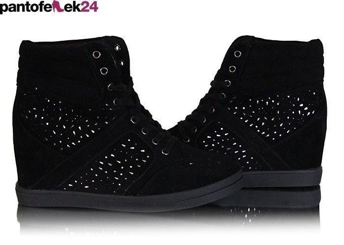 Czarne trampki z krysztalkami / Black sneakers with crystals / 39,90 PLN #sneakers #summer #white #trampki #crystals #autumn #jesień #autumn #fashion