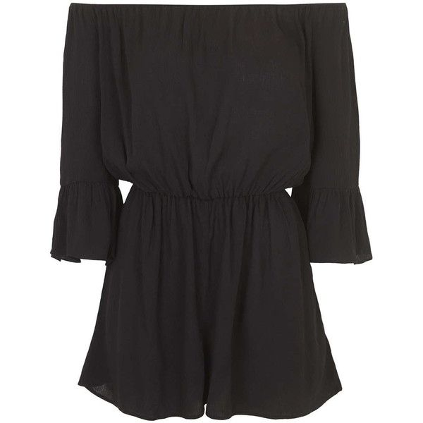 TOPSHOP Bardot Crinkle Playsuit featuring polyvore, fashion, clothing, jumpsuits, rompers, dresses, playsuits, romper, jumpsuit, shorts, black, playsuit jumpsuit, romper jumpsuit, black fitted jumpsuit, topshop jumpsuit and black jumpsuit