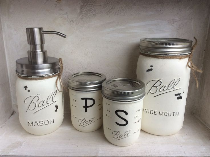Rustic Kitchen Decor ~ Painted Mason Jars.  www.winecountryaccents.etsy.com