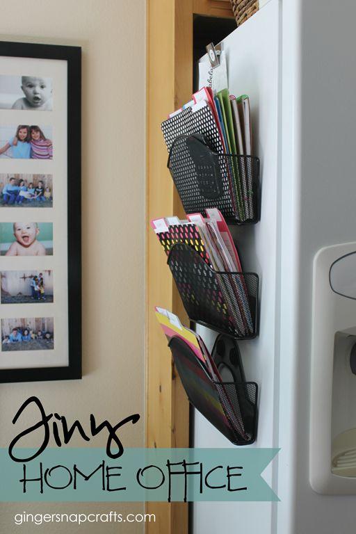 Tiny Home Office at GingerSnapCrafts.com #livingBIGinasmallhouse
