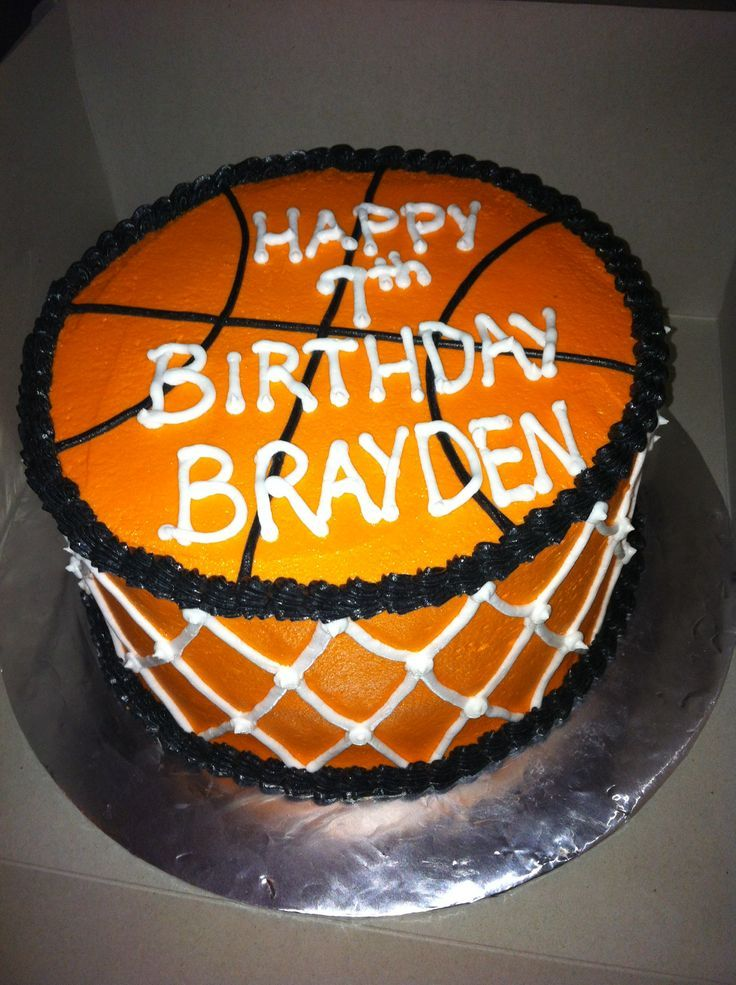 Basketball birthday cake for Brayden: (Cake Decorating For Guys)