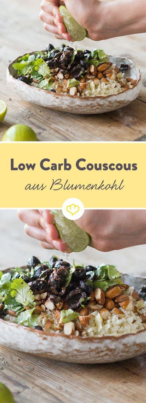 Ein Abendessen ohne Kohlenhydrate: Couscous aus Blumenkohl, Mandeln und Oliven. Sonntag vorbereiten und die Woche über genießen.