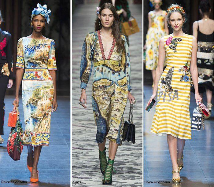 Главные тренды года ✨  ✧Звезды и географические принты  У Gucci мы обратили внимание на довольно интригующие блестящие юбки с принтом в виде карты, для Dolce & Gabbana идеальным принтом стали известные итальянские достопримечательности, которые они дополнили сложной конструкцией. Звезды были просто огромными. Они действительно произвели фурор и выглядели как наклейки, которые мы в детстве клеили на штаны. Платья, джинсы и другие предметы одежды были украшены звездами! Если вам по душе флаги…
