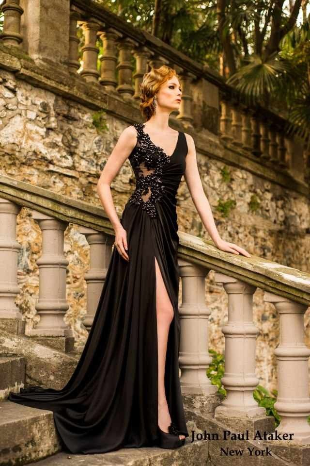 #DesignerHandbagsLove.COM  Elegant New Arrival Princess V-neck Appliques Front Split  Party Dress WPBD-9031