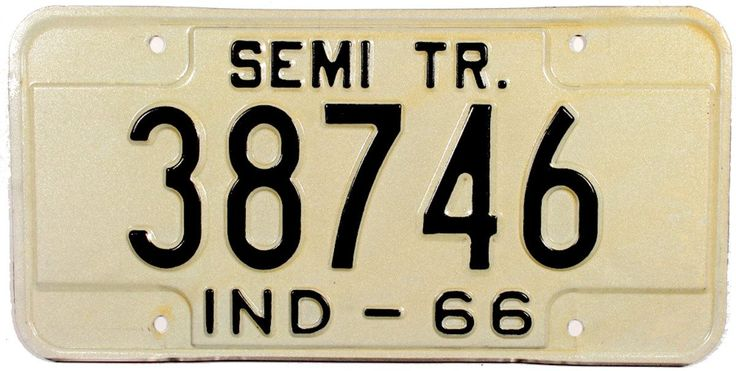 1966 Indiana Semi Trailer License Plate