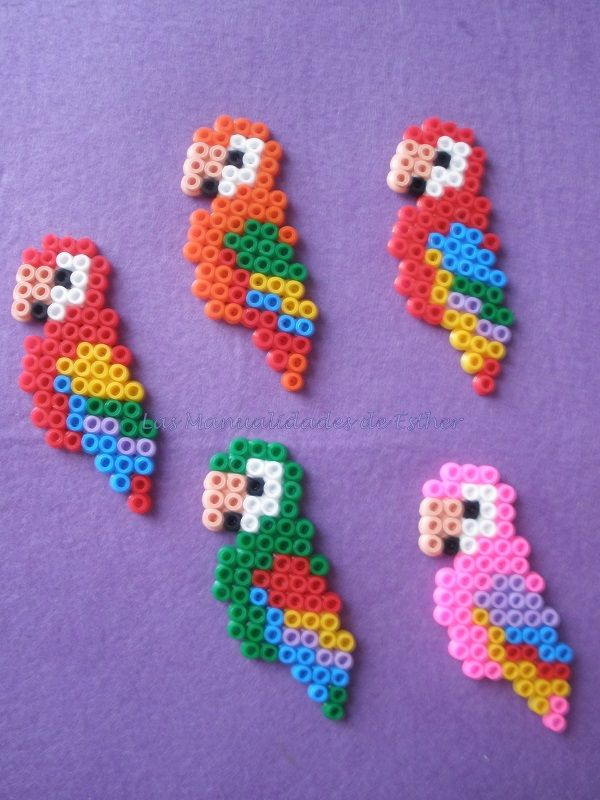 Parrots Hama Beads by Esther