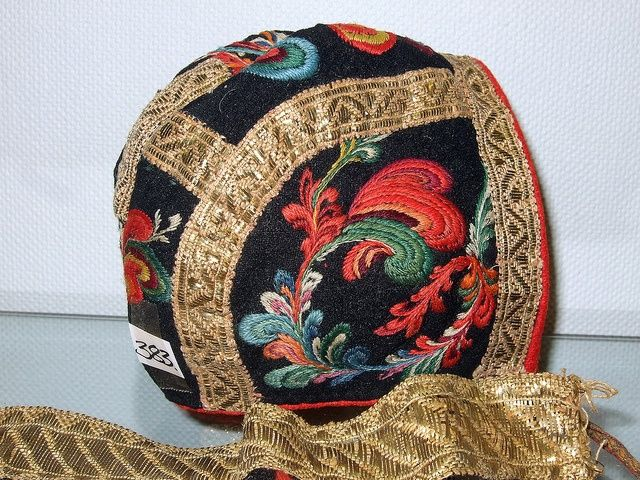 Detail from old Norwegian national costumes. The collection of Rikard Berge and from the exebition at Seljord of old costumes from Telemark county, Norway Women's cap
