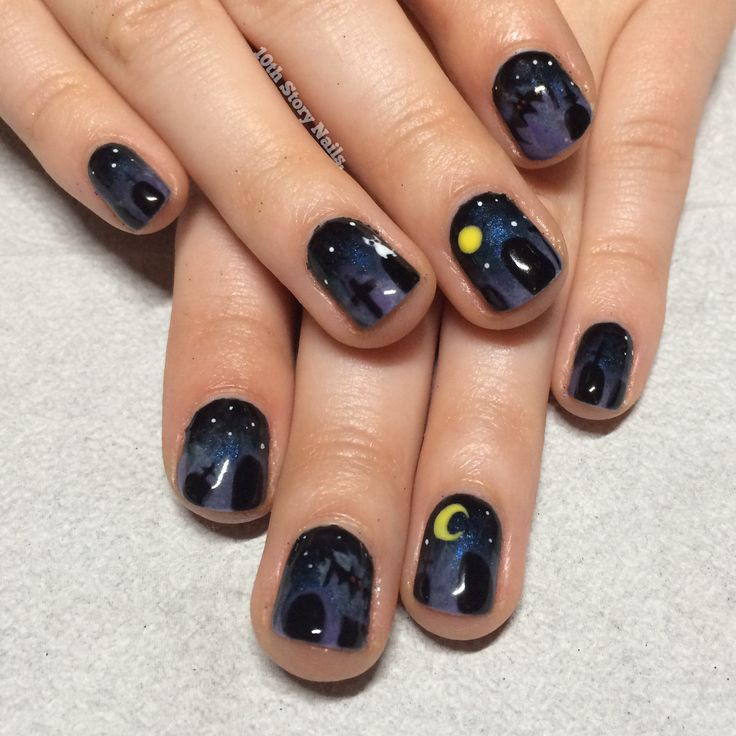 Halloween misty cemetery graveyard nail art | Nails, Nail ...