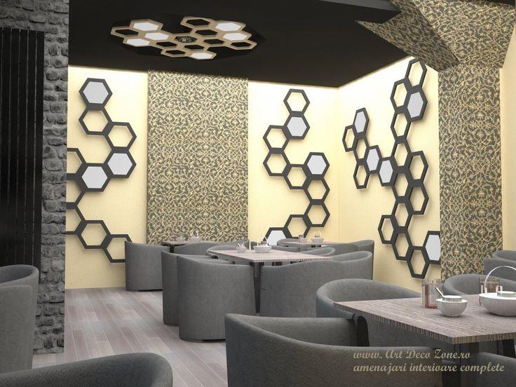 Elemente hexagonale atat pentru decorul peretilor cat si pentru corpurile de iluminat. Culori calde si texturi diferite ale peretilor. Un design excelent al unei cafenele din Alba Iulia. Re-design pentru cafeneaua High Class - Alba Iulia, Decebal - Art Deco Zone & Knox Design - Amenajari interioare Bucuresti. www.artdecozone.ro, #decorhexagonal, #amenajarielementehexagonale, #texturipereti