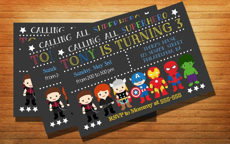 Chalkboard Avenger Superhero Party Birthday Party Card Digital Invitation…