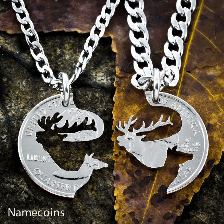 Elk couples Necklaces, Interlocking puzzle Jewelry by NameCoins