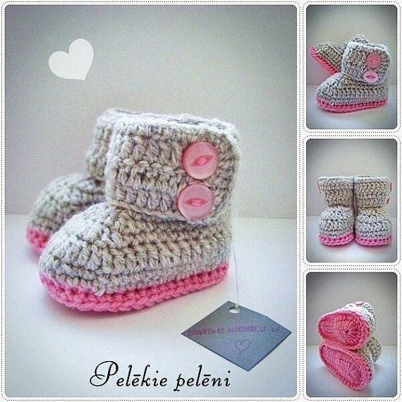 Check out this item in my Etsy shop https://www.etsy.com/listing/487420767/ugg-crochet-baby-boots-baby-girl-boots