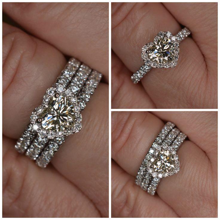 Heart Shape Diamond Engagement Ring & Wedding Band Set (18k White Gold) by JDOTCJewelry on Etsy https://www.etsy.com/listing/207068566/heart-shape-diamond-engagement-ring