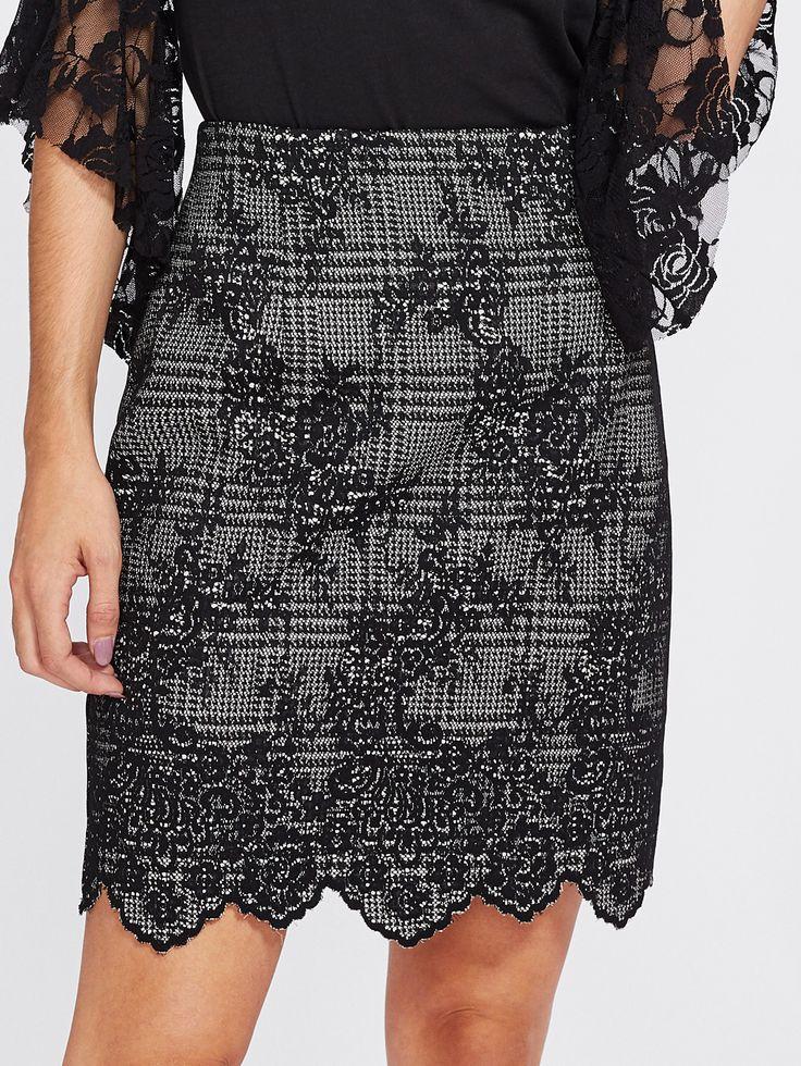 Shop Scalloped Hem Jacquard Skirt online. SheIn offers Scalloped Hem Jacquard Skirt & more to fit your fashionable needs.