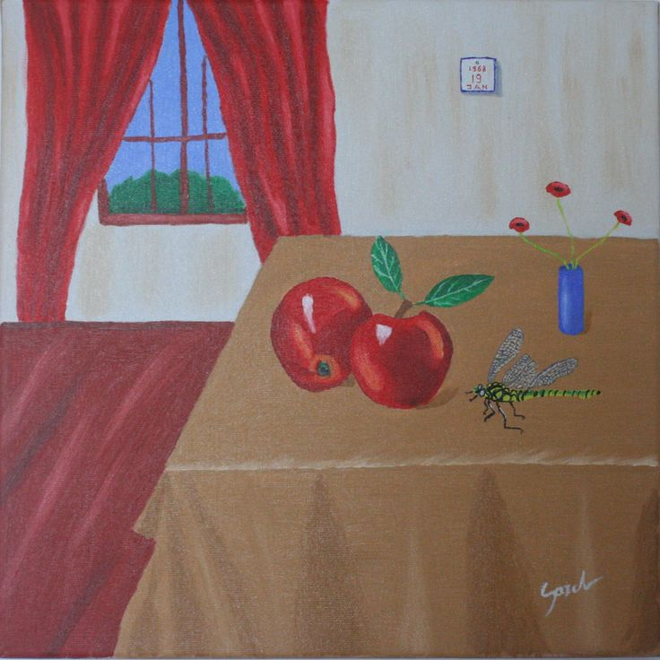 """The apples from table"" ulei pe panza 50x40 cm - oil on canvas 16x20 inches"
