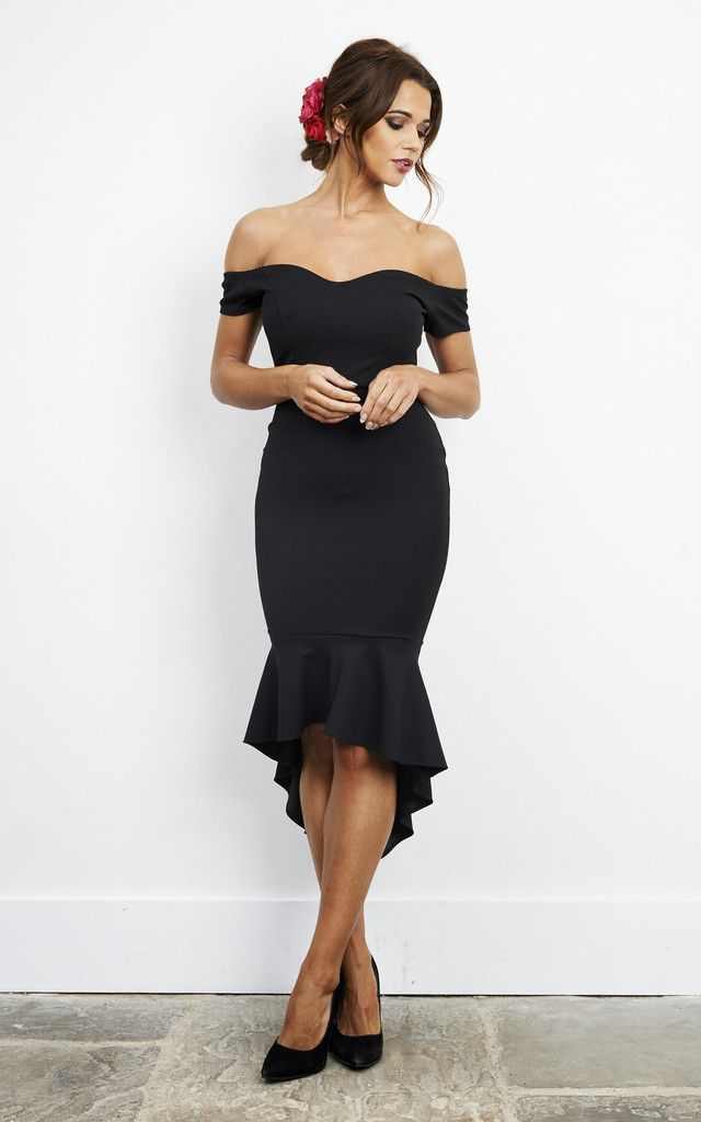 This gorgeous black frill dress is perfect for the next special event you have just around the corner. With an elegant high neck and longer back, it will ooze style and class.