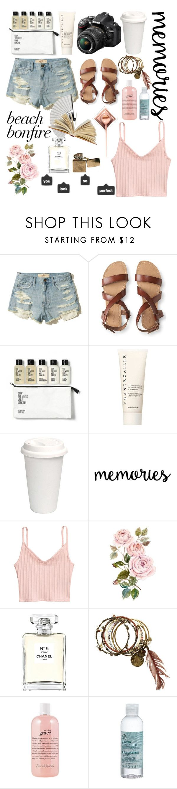 """""""Untitled #963"""" by helenaki65 ❤ liked on Polyvore featuring Hollister Co., Aéropostale, Chantecaille, Nikon, Chanel, philosophy and The Body Shop"""