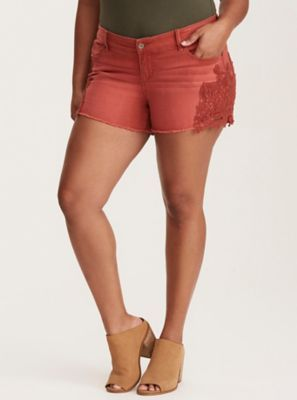 Skinny Short Shorts - Cinnamon Wash with Lace Inset Sides in Cinnabar