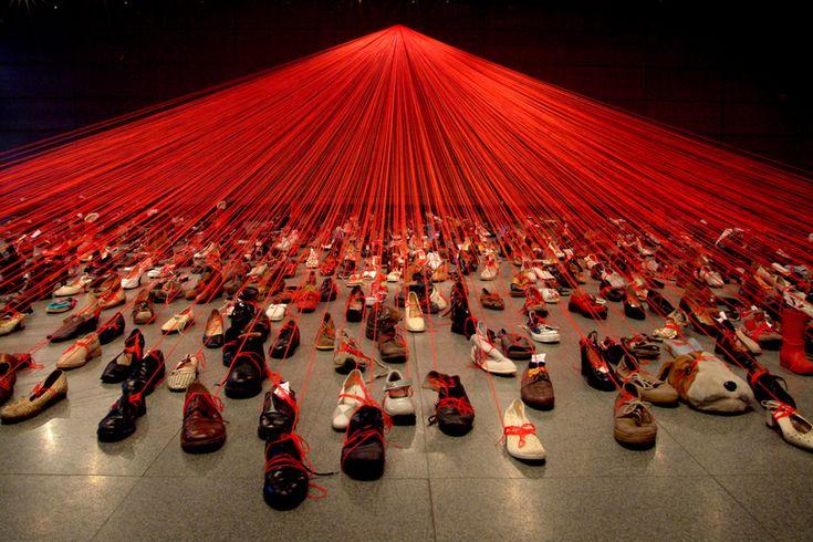 "Chiharu Shiota ""Dialogue from DNA"", 2004, Manggha, Centre of Japanese Art and Technology/Poland, photo: Sunhi Mang"