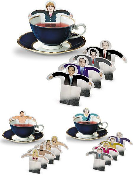 Funny and clever tea bag packaging. Involving a lot of famous people. Nice gift idea