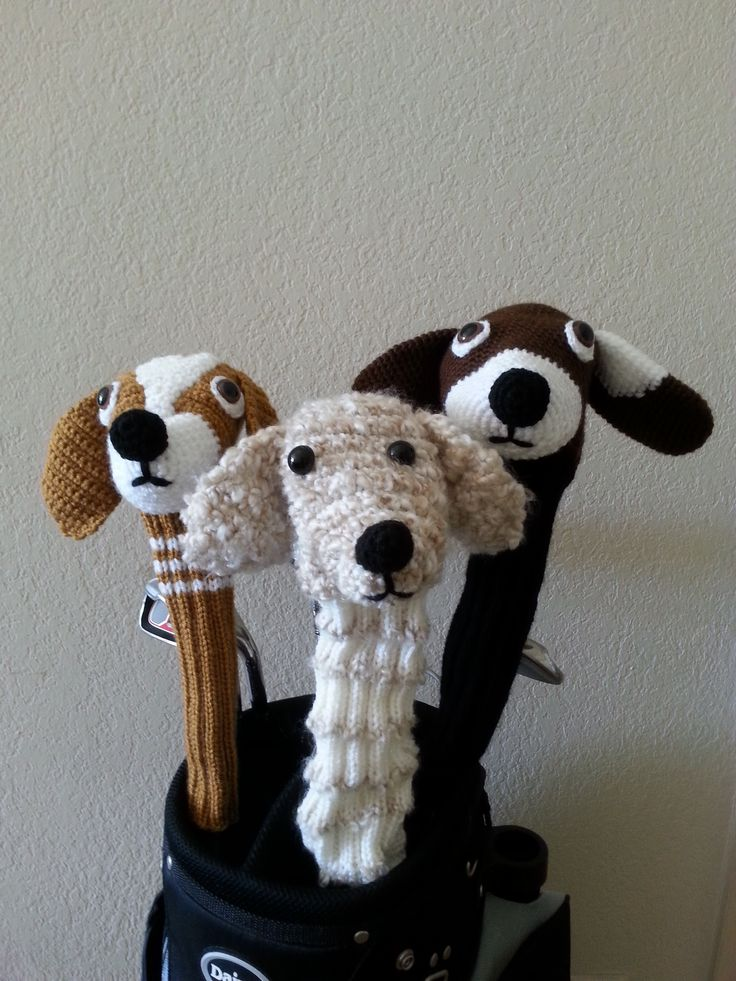 Dog knitted golf club covers