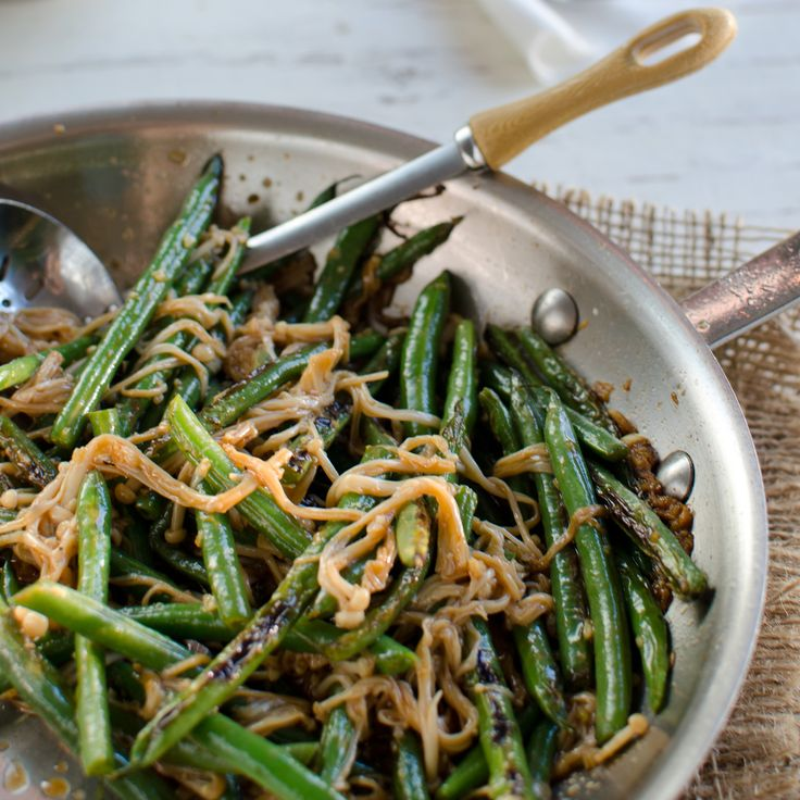 Spicy Green Bean and Enoki Mushroom Stir-Fry with Garlic and Anchovies | Food & Wine
