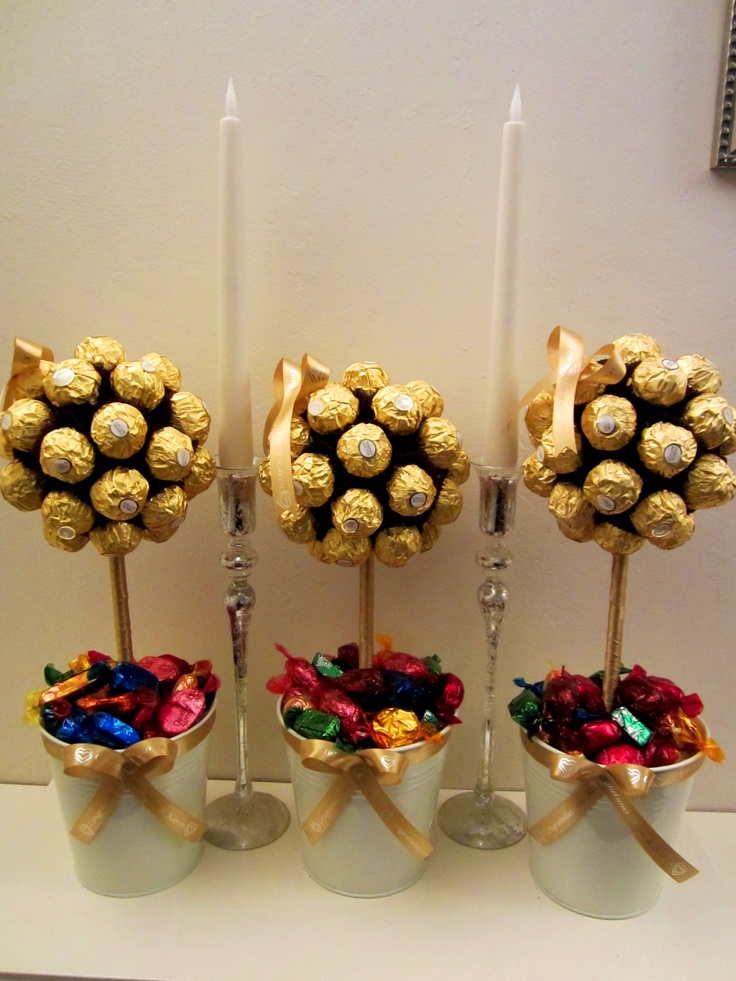 shower centerpiece. ferrero rocher trees. | Pops | Wedding ...