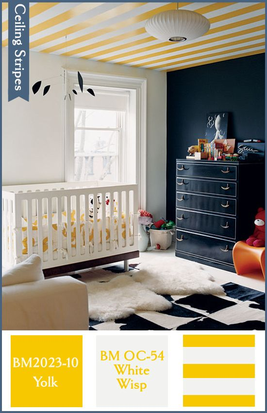 striped ceilingIdeas, Nurseries, Kids Room, Baby Room, Painting Ceilings, Dark Wall, Stripes Ceilings, Black Wall, Accent Wall