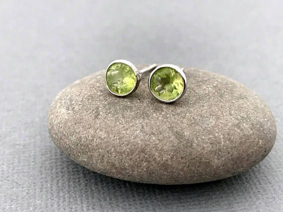 Sterling silver Peridot gemstone stud earrings Silver
