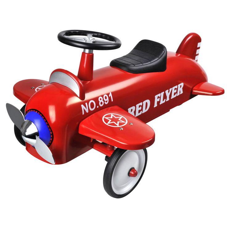 Rode metalen vliegtuig met rubberen banden. Geschikt voor kindjes vanaf 1 jaar. Te vinden bij Sassefras Meisjes Speelgoed voor écht peuter en kleuter speelgoed.