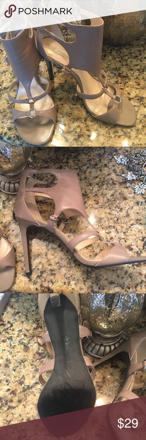 """Fergie taupe leather heels Fergie """"Talisha"""" leather ankle strap heel Fergie Shoes Heels"""