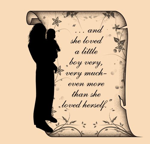 Beautiful mother-son tattoo design with a quote by Shel Silverstein