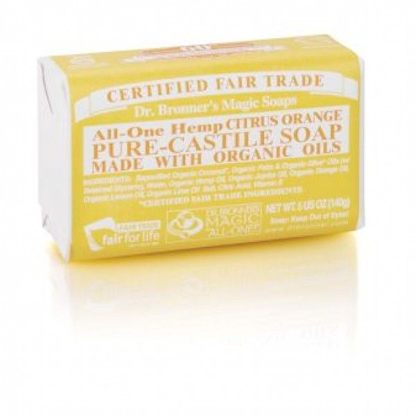 Dr. Bronner's Citrus Orange Castile Bar Soap, made with lemon essential oil, stimulates your skin and lifts your spirits.