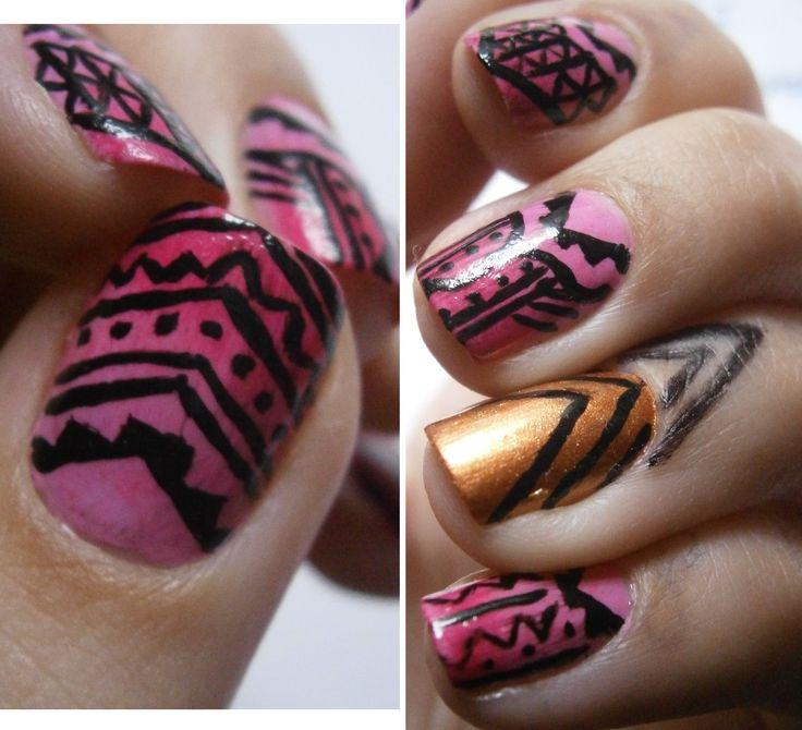 tribal nail art #nailart #nails #nail