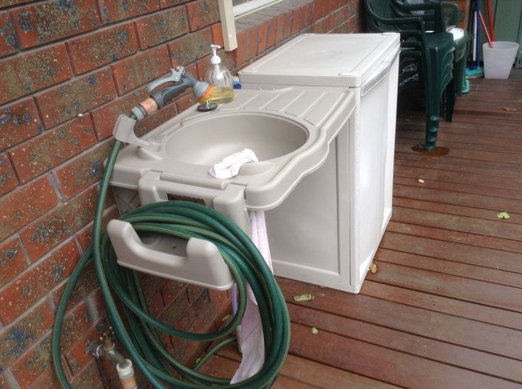 I first saw this outdoor sink on Pinterest and found it on Ebay for $57  Its Great  We have installed it on our deck.