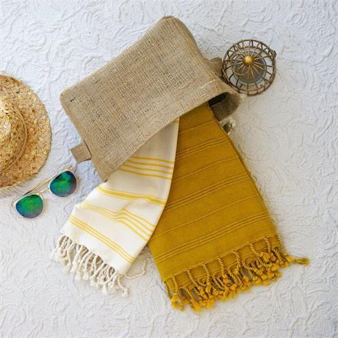 Natural Kese Plaj Seti - Ebat: Keten Havlu Sepeti 18x24 cm Peştemal Sarı Çizgili 70x100 cm Peştemal Hardal 90x165 cm Renk: Keten Havlu Sepeti Kahverengi
