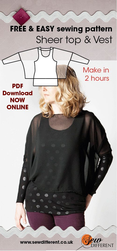 Here it is! FREE sewing pattern for women - the Sheer Top & Vest is now online and ready to download.  There is also a post about styling and fabrics to go with it. It's REALLY easy to make - no experience needed. Have a look at my other free patterns while you are there - happy sewing!!