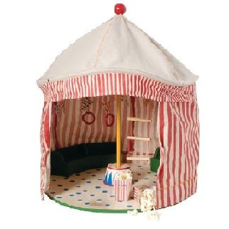 MAILEG CIRCUS TENT - $179.95 - From the Maileg children's circus range this gorgeous theatre circus tent is perfect for stimulating young minds and helps develop imaginative thinking and play.  Your little one will love to play with the circus characters and perform their very own circus show.  Also a perfect display touch and addition to your child's nursery, bedroom or playroom.   Includes podium and cutting sheet.   Height - 47cm #sweetcreations #kids #gifts #maileg #circus