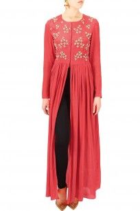 Red floral embroidered motifs front open cape