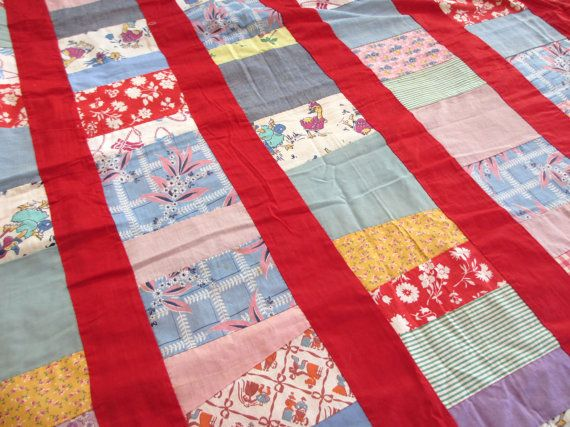 Red stripe. Vtg midcentury quilt top / hand work handmade stitched / feedsack fabrics / juvenile prints child room children / home decor bedding by fuzzandfu