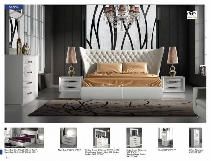 Queen Bedroom Set 5pcs Eco Leather Modern Made In Spain Esf Miami