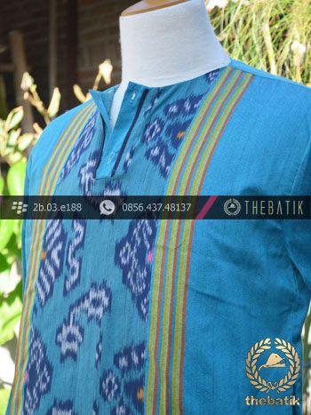 Baju Koko Tenun Ikat Warna Biru Muda | Blue Ikat http://thebatik.co.id/kain-batik-bahan/