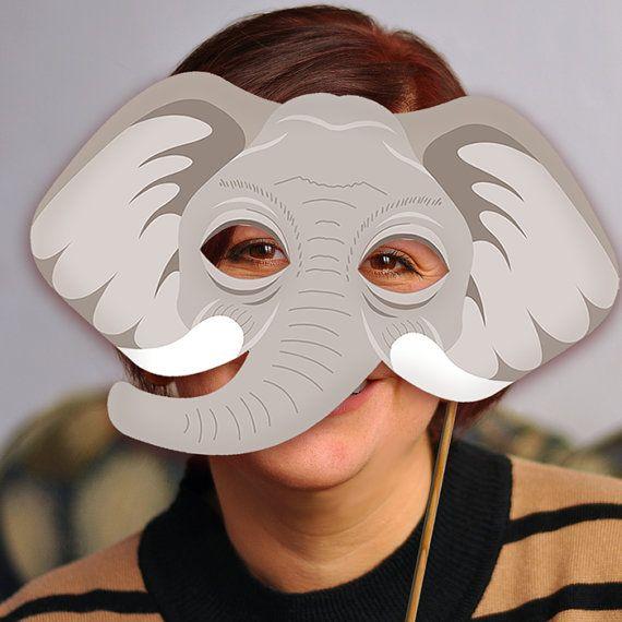 Elephant Printable Mask Gray DIY Safari Jungle by LMEprintables