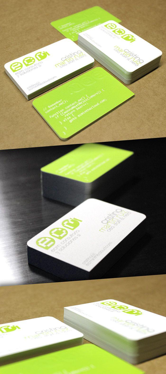 Tarjetas de visita a 3 tintas, doble cara, golpe seco y 3 esquinas de 4 redondeadas // business cards #offset #roundedcorners #letterpress