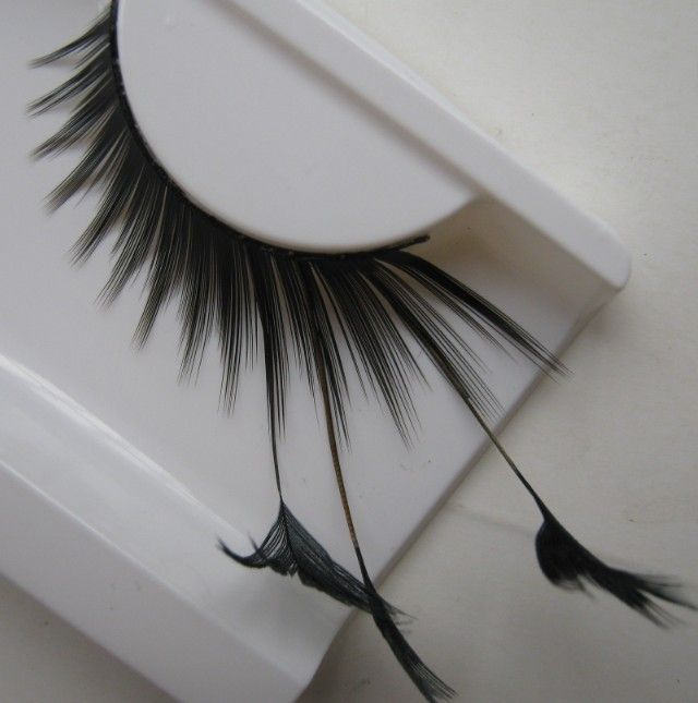 1 pairs Stage  art form feather false eyelashes for women makeup eye tail lengthened black feathers F085 extended YM82