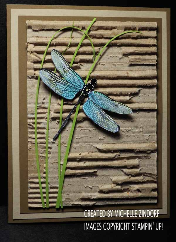Out of the box Dragonfly Dreams – Stampin' Up! Card created by Michelle Zindorf, (Pin#1: Insects Fly... Pin+: Cork/ Corrugated...).