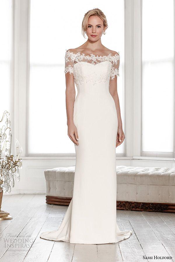 sassi holford wedding dress 2015 bridal signature collection lace shrug off the shoulder sweetheart sheath style camilla
