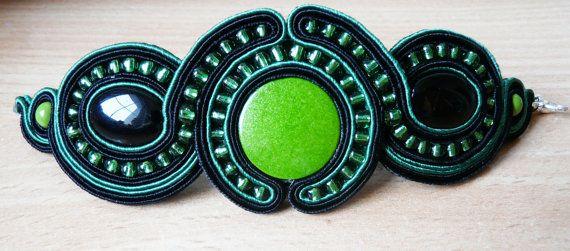 Soutache bracelet  green and black. by EmilyArtHandmade on Etsy